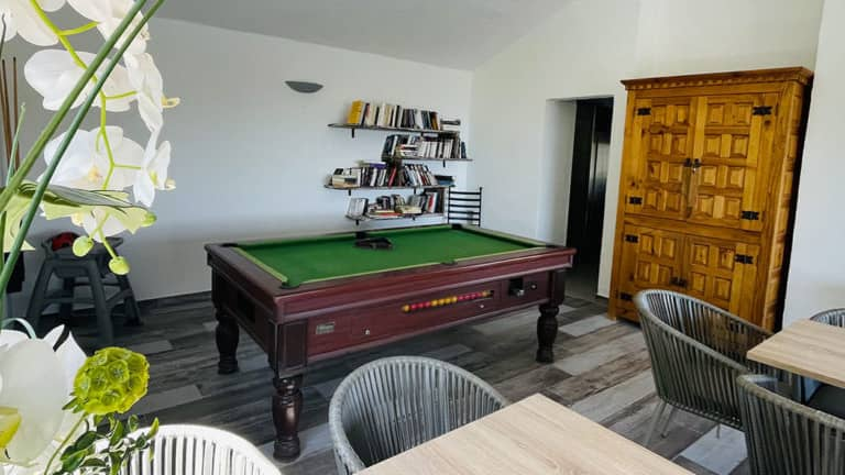 Bar room with pool table